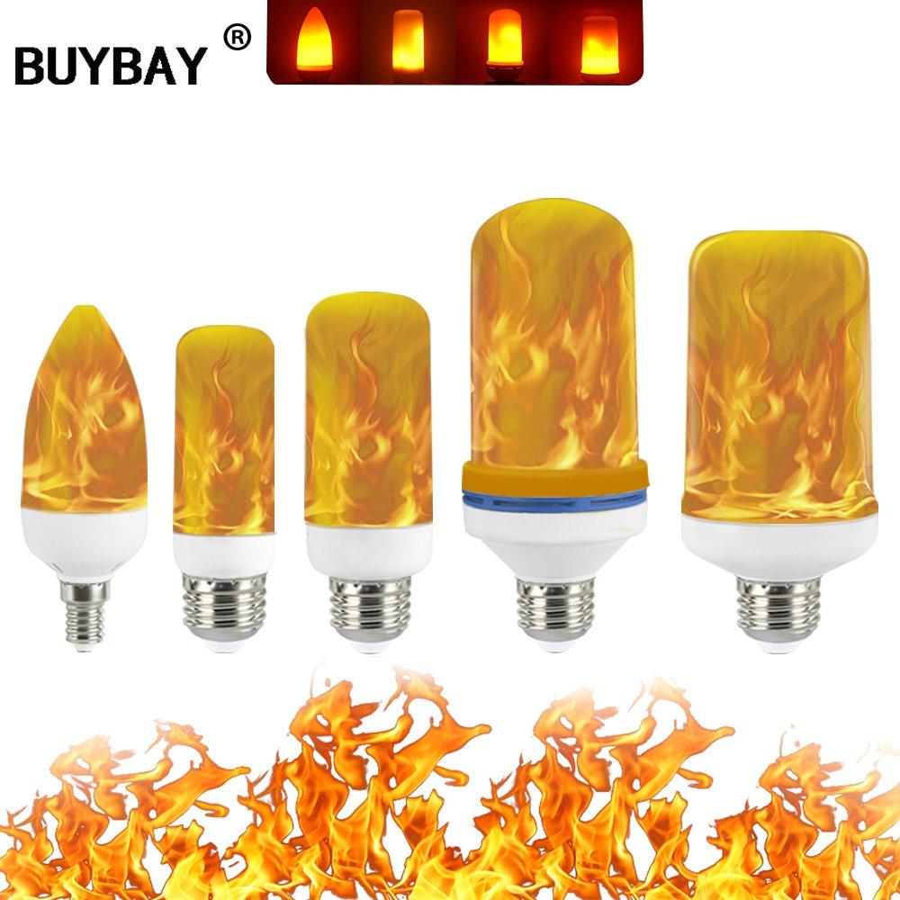 Полная модель 3 Вт 5 Вт 7 Вт 9 Вт E27 E26 E14 E12 Лампа с пламенем 85-265 в светодиодные лампы с эффектом пламени лампы с мерцающим эмуляционным декором С...