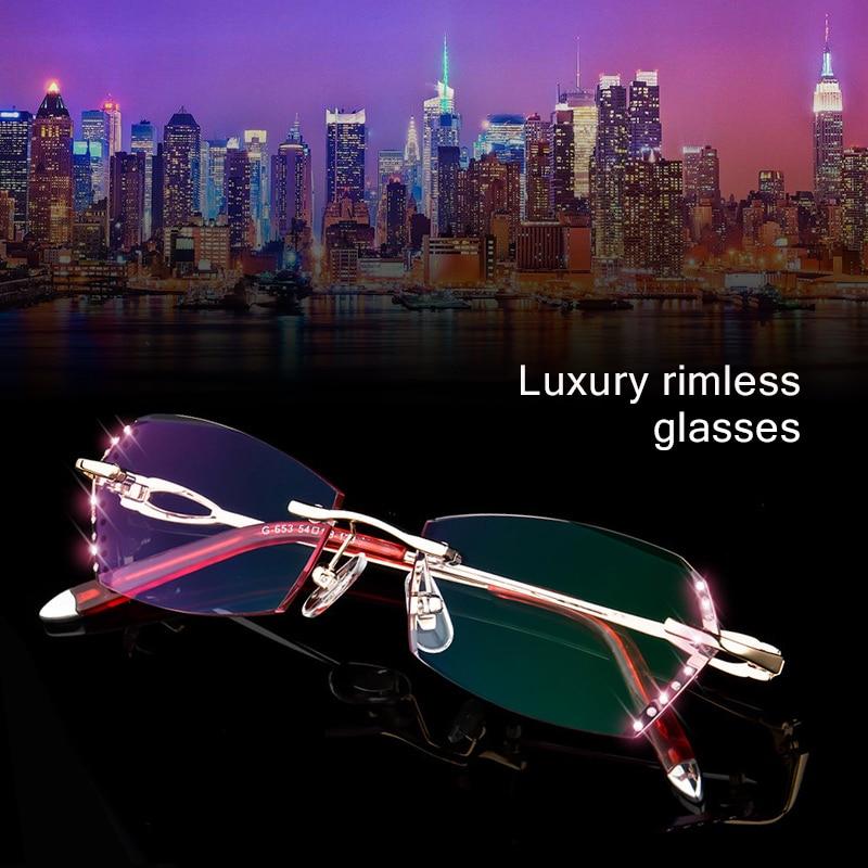 Luxury Diamond Cutting Rimless Eyeglasses woman Tint Lenses Optical Phantom trimming titanium Glasses Anti blue light s653 in Women 39 s Eyewear Frames from Apparel Accessories