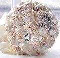 2016 новый горячий Великолепный кристалл на складе Потрясающие Свадебные цветы Белый Невесты Свадебные Букеты искусственные Розы Свадебный Букет