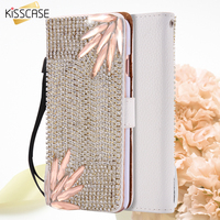 KISSCASE Luxury Flip Case For iPhone 6 6S Plus Bling Flower Rhinston Diamond Litchi Leather Cover Stand Card Slot Girly Wallet