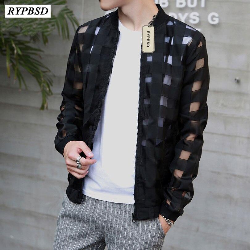 Pierced Transparent Bomber Jacket Men 2019 Sun Protection Clothing Windbreaker Summer Thin Men Plaid Jackets Slim Fit Mens Coats