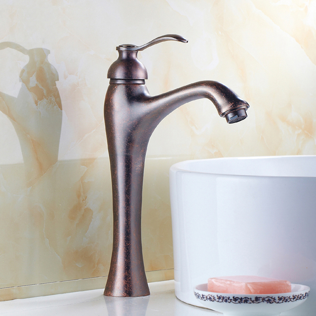 Brass Wash Basin Faucet Mixer Water Tap, Single Handle Oil Rubbed Bronze  Faucet, Antique