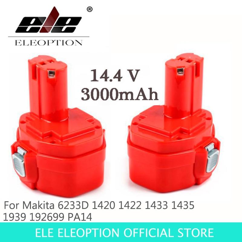 ELEOPTION 14.4V Ni-MH 3000mAh Replacement Power Tool Battery for Makita 14.4V Battery 1420 1422 1433 1434 1435 1435F 192699-A