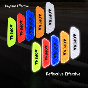 Image 2 - 4 Pcs Car Door Safety Warning Reflective Stickers OPEN Sticker Long distance Reflective Paper Anti collision Decorative Sticker