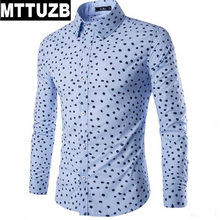 MTTUZB Spring autumn new men long sleeve printed shirts men's casual slim business dress shirt man work formal shirt male suit
