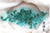 5piece green 3d flower lace patch, lace bodice applique heavy bead lace applique 3d tulle floral applique, 3d flower applique