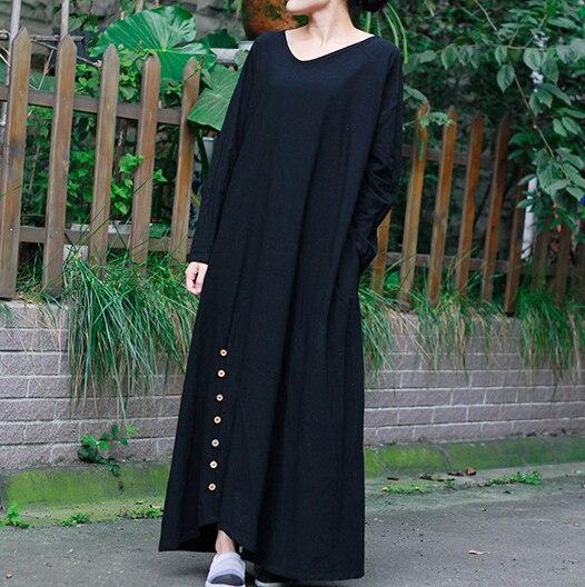 2015 new autumn long dress Women casual Cotton Linen maxi Dresses ...