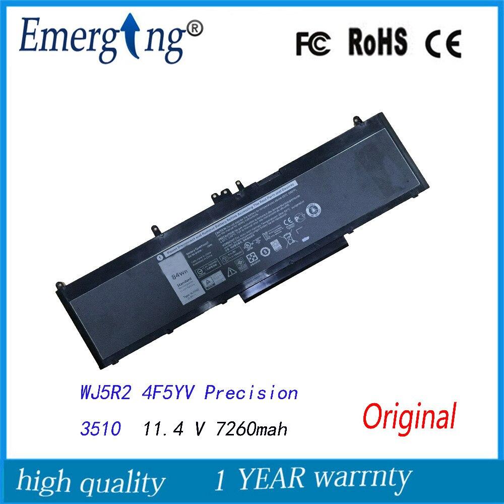11.4 v 7260 mah bateria de laptop novo original para dell precision 3510 wj5r2 4f5yv