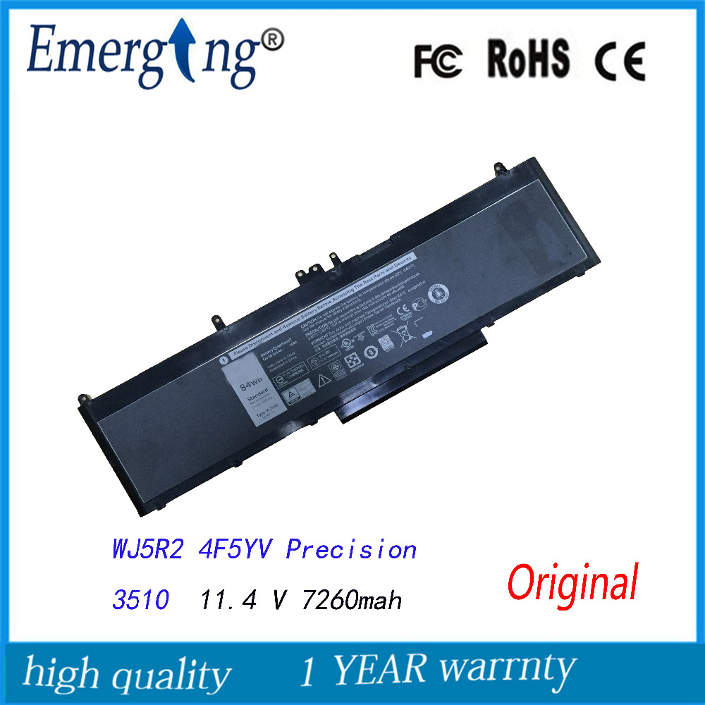 11.4V 7260Mah New Original Laptop Battery for <font><b>Dell</b></font> Precision <font><b>3510</b></font> WJ5R2 4F5YV image