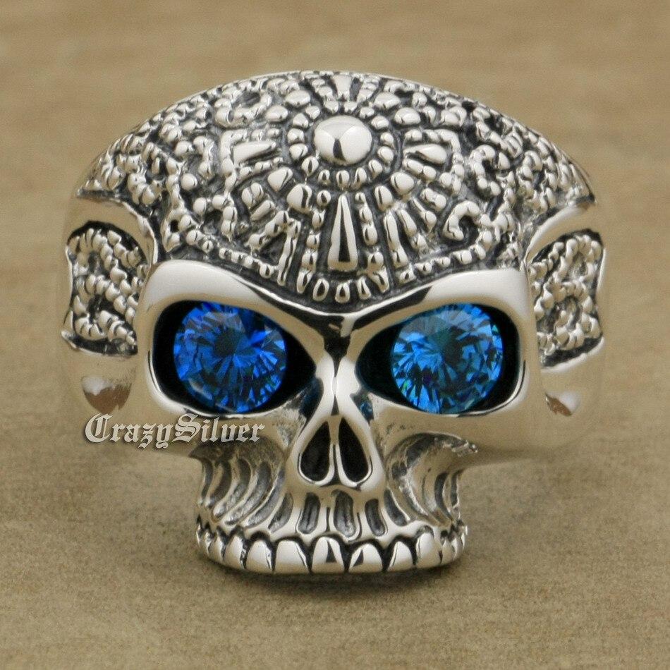 925 Sterling Silver Skull CZ Eyes Mens Biker Rocker Punk Ring 9K120 US Size 7 5