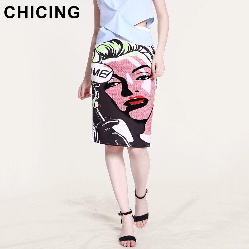 15524111825dc4 Jupes Chicing Marilyn Monroe De Taille Haute Split Imprimer Retour ...