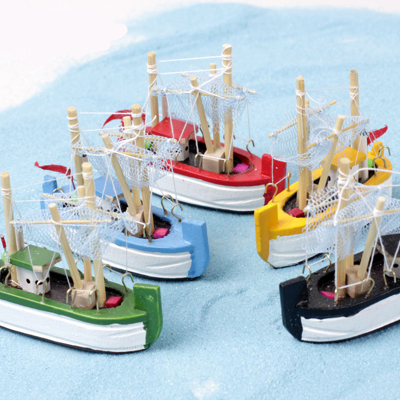 Wood fishing boat sailboat miniature fairy garden home