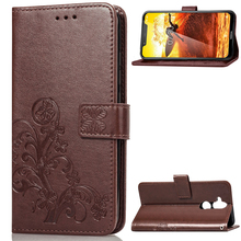 For Nokia 8.1 Case Luxury Clover Pattern Leather Flip Wallet