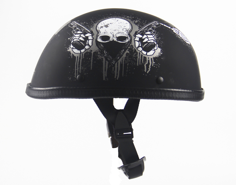 2018 Skull Wing Rose Half Open Face Helmet Novelty Vintage Retro Motorcycle Racing Helemt Black Men cascos para moto Dot