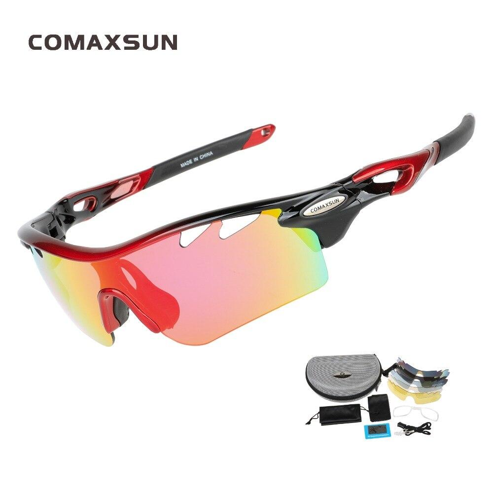 COMAXSUN Professionele Gepolariseerde Fietsbrillen Fietsbrillen Vissen Buitensporten Zonnebril UV 400 5 Lens TR90 STS801 4 Kleur