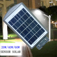20W 40W 60W Outdoor Solar Powered Street Light Sensor Solar Garden Light LED Park Road Lamp Waterproof