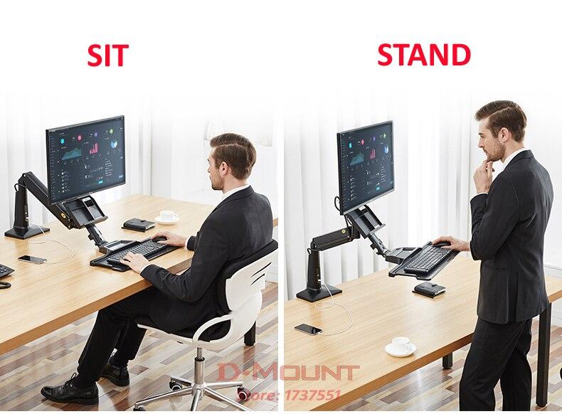 Bureau Pour Travailler Debout Et Assis : Nb fc cm ordinateur assis debout travail station support de
