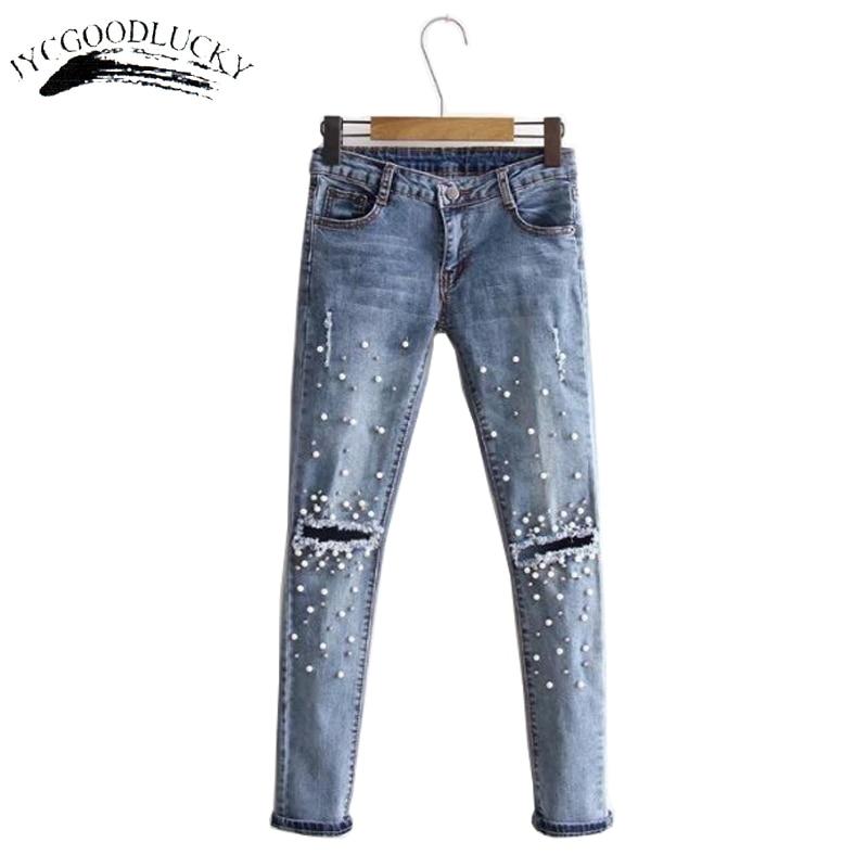 Buylivescribe Comprar Moda Denim Jeans Mujeres 2017 Delgado Medio Cintura De Las Del Grano Pantalones Vaqueros Rasgados Agujero Mujer Nueva Otono Online Baratos