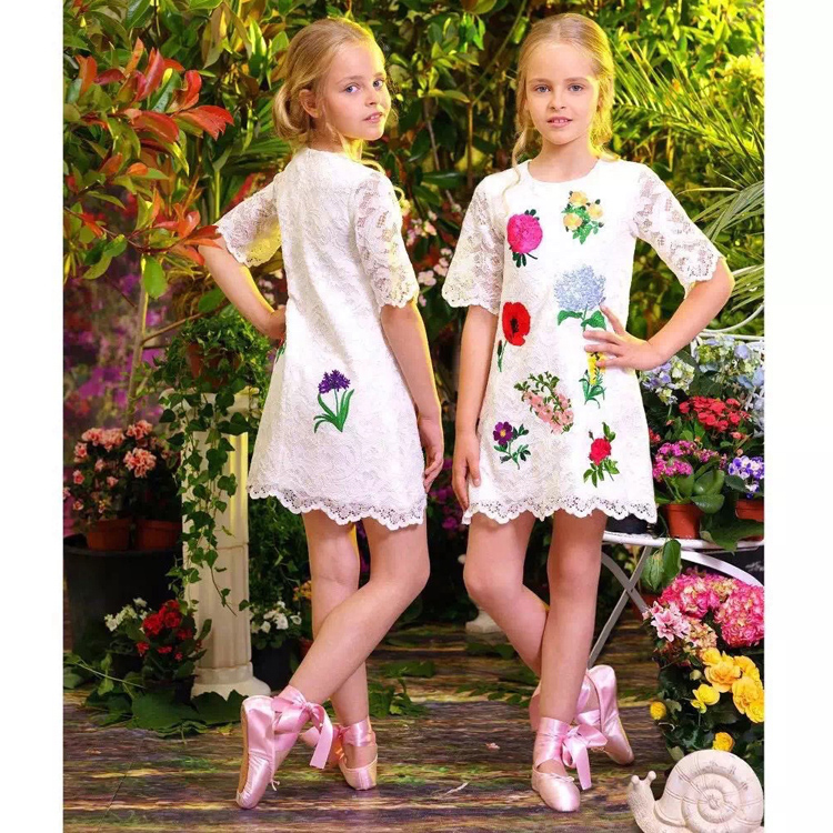 Kids Summer Graffiti Print Cartoon Party Dresses For Girls Flower Fashion Short sleeved Princess Costume Children