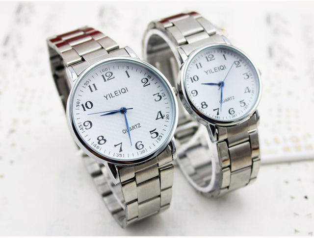 Old People Watch Big Number Clear Table Stainless Bracelet high Quality Wristwatch Lover Watches Women Man Lady Men