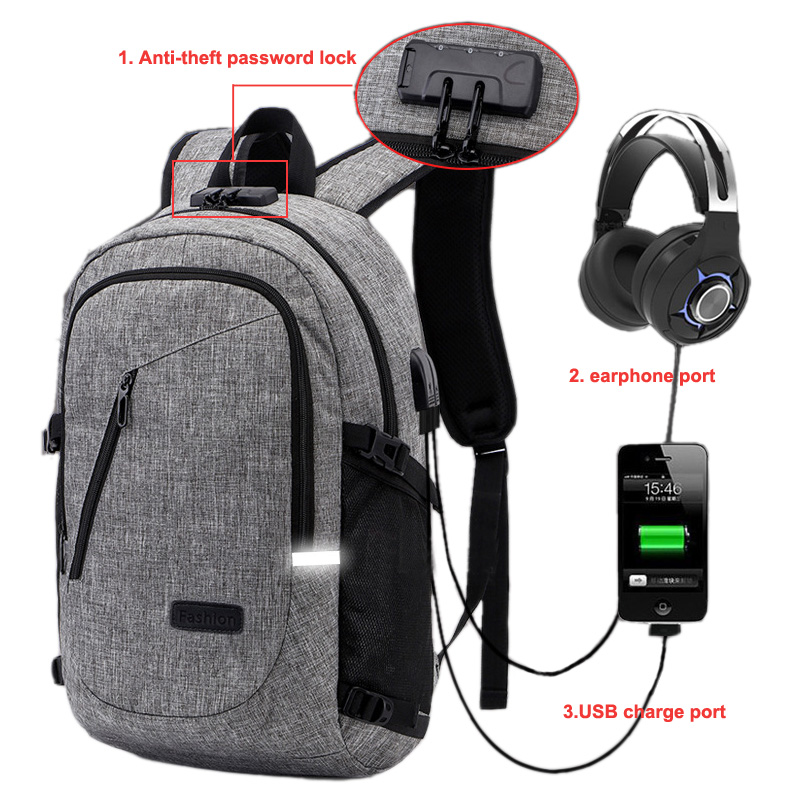 Men Bag Anti theft Backpack Boy Knapsack Coded Lock USB Charging Earphone Interface Laptop Male Travel