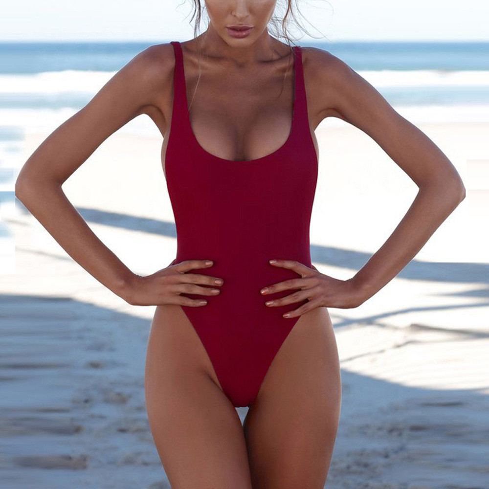 ddcb1f04e936 Sexy U Neck Backless One Piece Swimsuit Bathing Suit B2 Push-Up Padded High  Waist