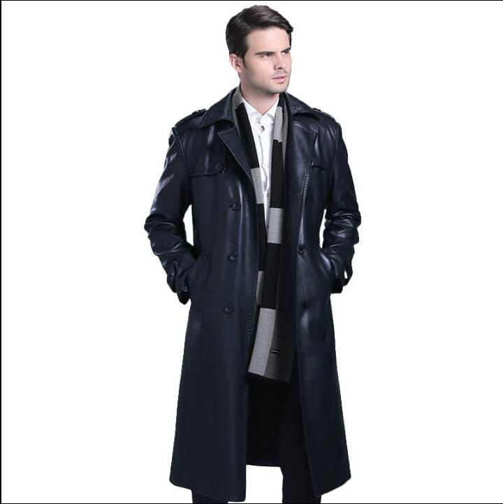 Double breasted leather coats men suits collar long coat mens leather trench coats thicken black autumn winter fashion M 4XL - 5