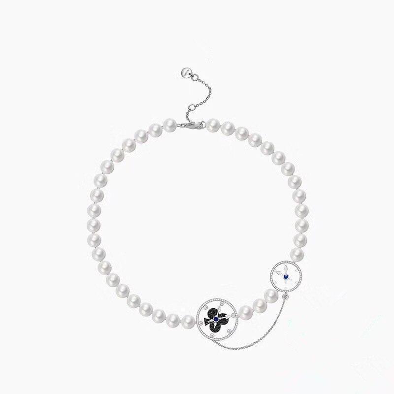 ZOZIRI marque conte de fées montre de poche 925 argent Sterling perle chaîne collier Choker Monaco femmes Steampunk collier bijoux