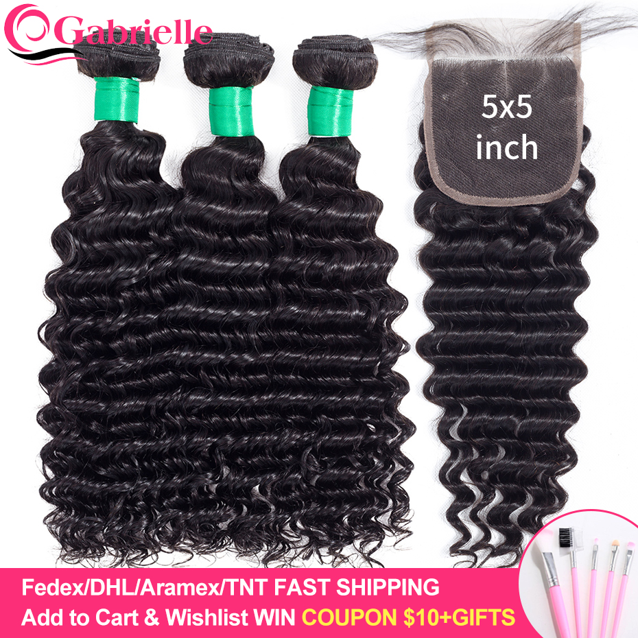 Gabrielle Human Hair Deep Wave Bundles with 5x5 Lace Closure Brazilian Remy Hair Weave Bundles with