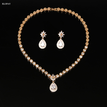 Luxury Cubic Zircon Crystal Bridal Jewelry Sets Waterdrop Necklace Earrings Sets for Women Wedding Party Jewelry cwwzircons brand clear cubic zircon long big wedding necklace sets jewelry accessories for brides t162