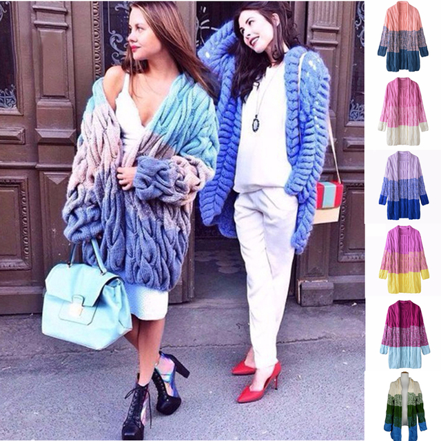 Women Free Cable Knitting Pattern Twisted Cardigans Tie Dye Color ...