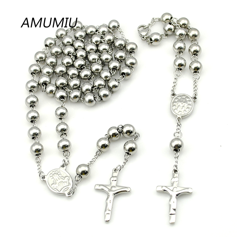 AMUMIU 8mm Big Necklace Chains Christmas Stainless Steel Rosary african beads jewelry set Cross true religious men HZTZ072