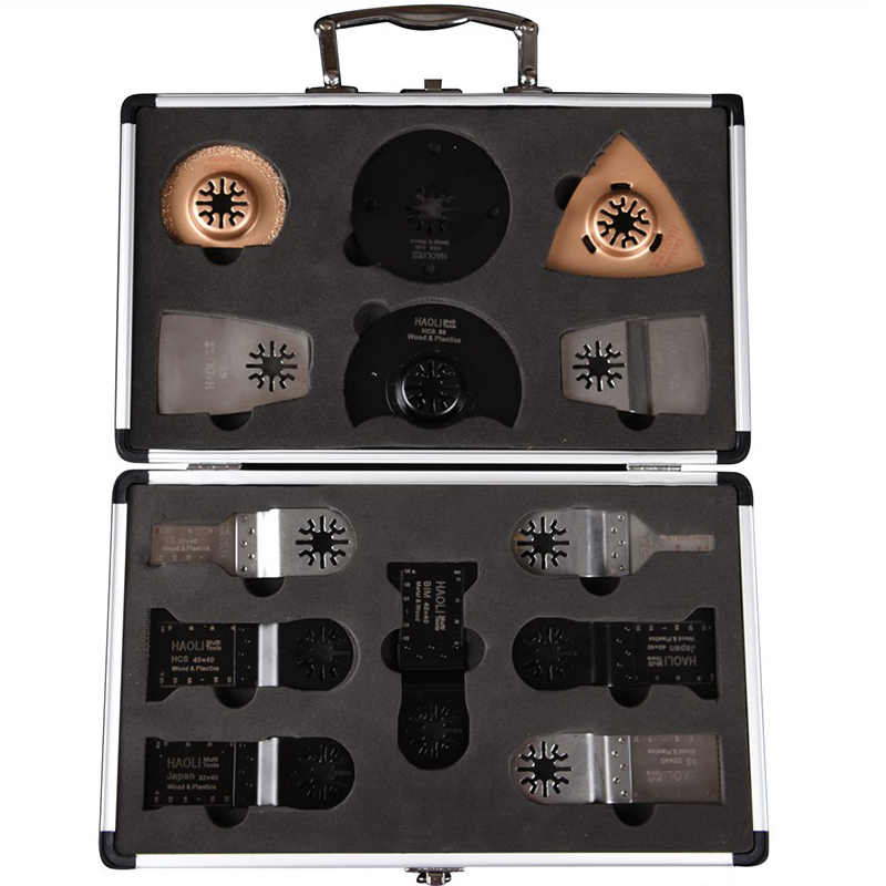 ФОТО Free Shipping 17pcs/set Oscillating Multi Tool Saw Blades Accessory in Aluminum box for Bosch Fein Dremel ect