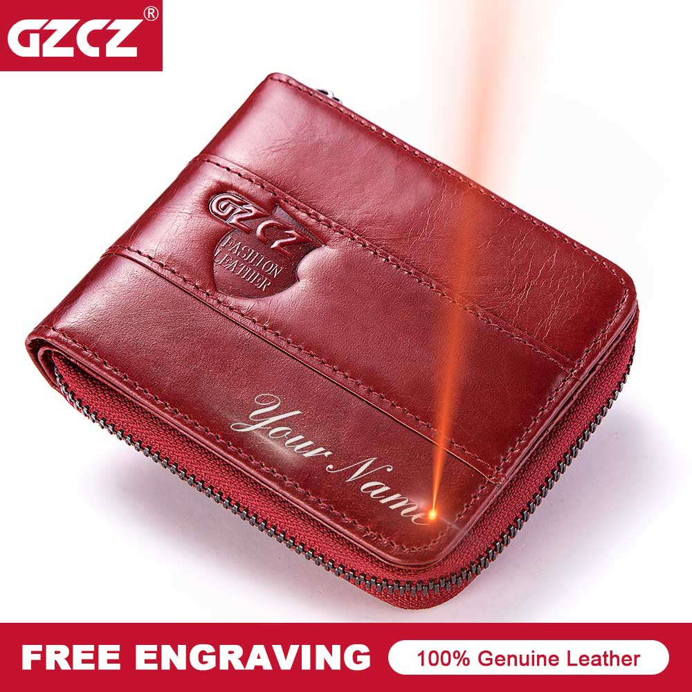 GZCZ New WomenS Genuine Leather Wallet Fashion Women Coin Purse Small Lady Wallets Zipper Poucht Free Engrave Clamp For Money
