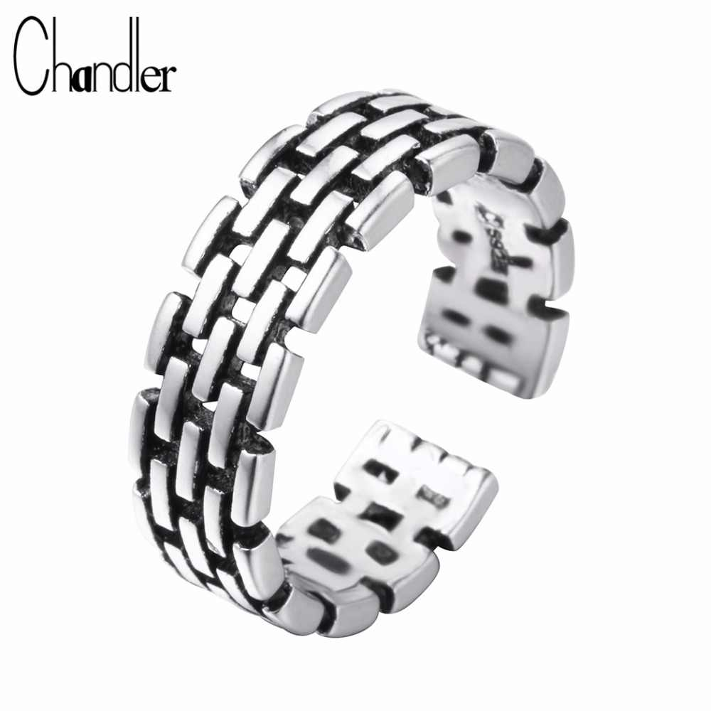 Chandler Chain Link Rings Wedding Band For Women Signet Ring Titanium Silver Punk Boho Retro Gothic Eternity Party Jewelry