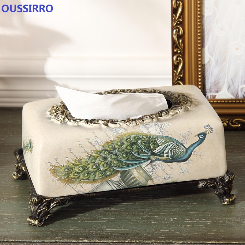 Oussirro 2018 새로운 중국 스타일 럭셔리 티슈 박스 패션 우아한 가정용 거실 데스크탑 타월 냅킨 티슈 홀더-에서휴지 상자부터 홈 & 가든 의  그룹 1