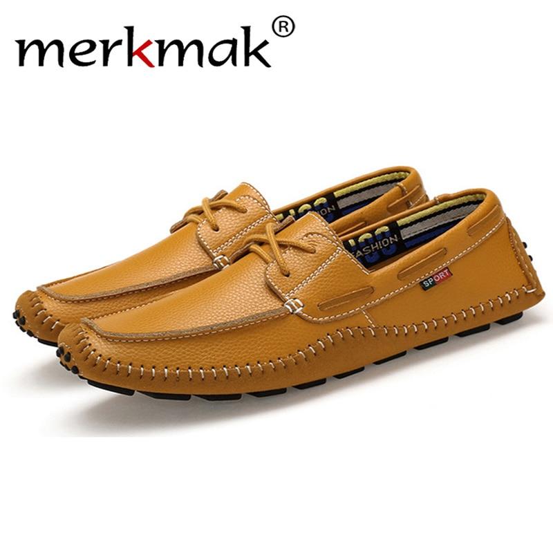 Merkmak Brand Men Leisure Shoes Fashion High Quality Laces Up Designer Business Men Flats Shoes Big Size 36-47 Shoes Drop Ship brand designer high quality red leather shoes men lace up high top men casual shoes fashion cut outs luxury brand men shoes