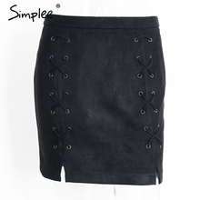 Leather suede pencil skirt with lace