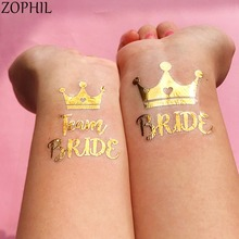 цена Bride to be Team Bride Wedding Tattoos Wedding Decoration Bachelorette Hen party Favor Supplies Rose Gold Crown Stickers Boda