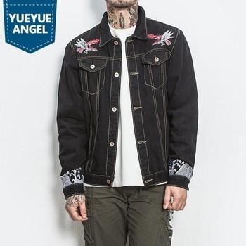 New Men's Animal Pattern Jacket Casual Men Black Pockets Denim Coat Jaqueta Fashion Printing Windbreaker Jacket Plus Size