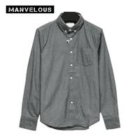 Manvelous Smart Casual Shirt Mens 2017 Summer Fall Long Sleeve Lapel Single Breasted Slim Solid Plain