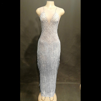 Sparkling Rhinestones Tassel Perspective Dress Female Singer Bar Dance Outfit Birthday Celebrate Costume Mesh Long Dresses Wear