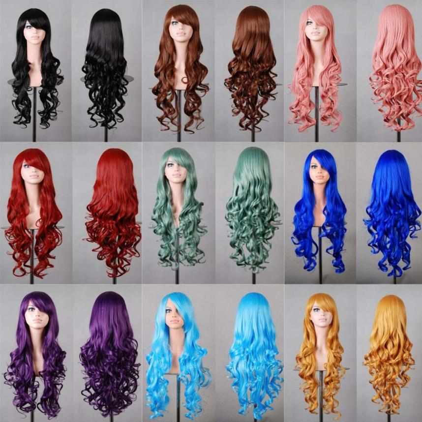 Wig Natural hair Ladies Fashion Colourful Women Lady Long Wavy Curly Hair Anime Cosplay Party Full Wig for black women A17 adult fashion sword art online long straight hair cosplay wig anime party free