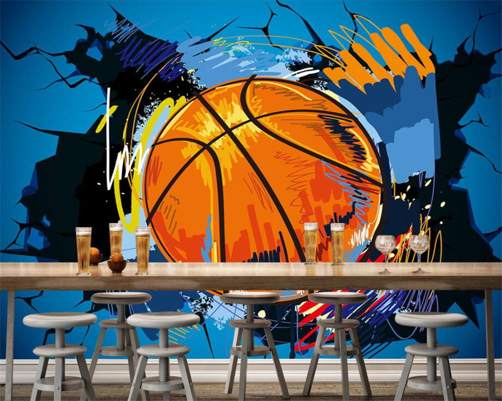 Beibehang Custom Wallpaper Basketball Walls Europe and the United States Wind 3D TV Backdrop Living Room Room Mural 3d wallpaper europe and the united states new handsome british wind pointed thick boots snake belt buckle especially exquisite single boot
