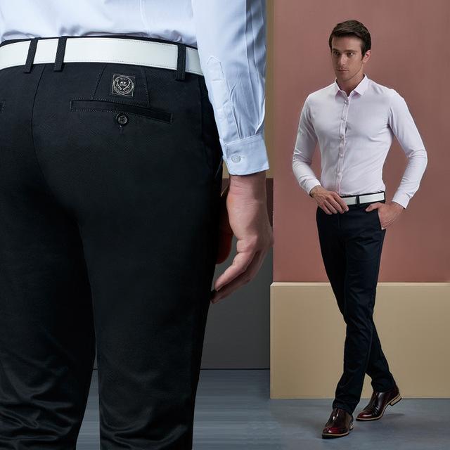 2016 Flaco Algodón Militar Superior Y Pantalones de Invierno de Los Nuevos Hombres Pantalones Casuales Microejection Empresa Joven Largo Simple Del Todo-Fósforo