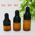 1ml 2ml 3ml 100pc Amber Dropper Mini Glass Bottle Essential Oil Display Vial , Small Serum Perfume  Brown Sample container