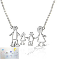 DIY Mom Jewelry Children Birthday Gifts Personalized 925 Sterling Silver Loving Family Drawing Christmax Gift Custom Necklace