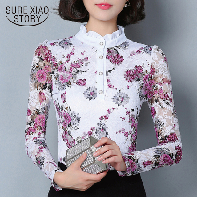 New 2018 Fashion Blusa Women Brand shirt Slim Printed shirt long-sleeved Female lace Tops Women lace blouse Plus size 4XL 36i 25