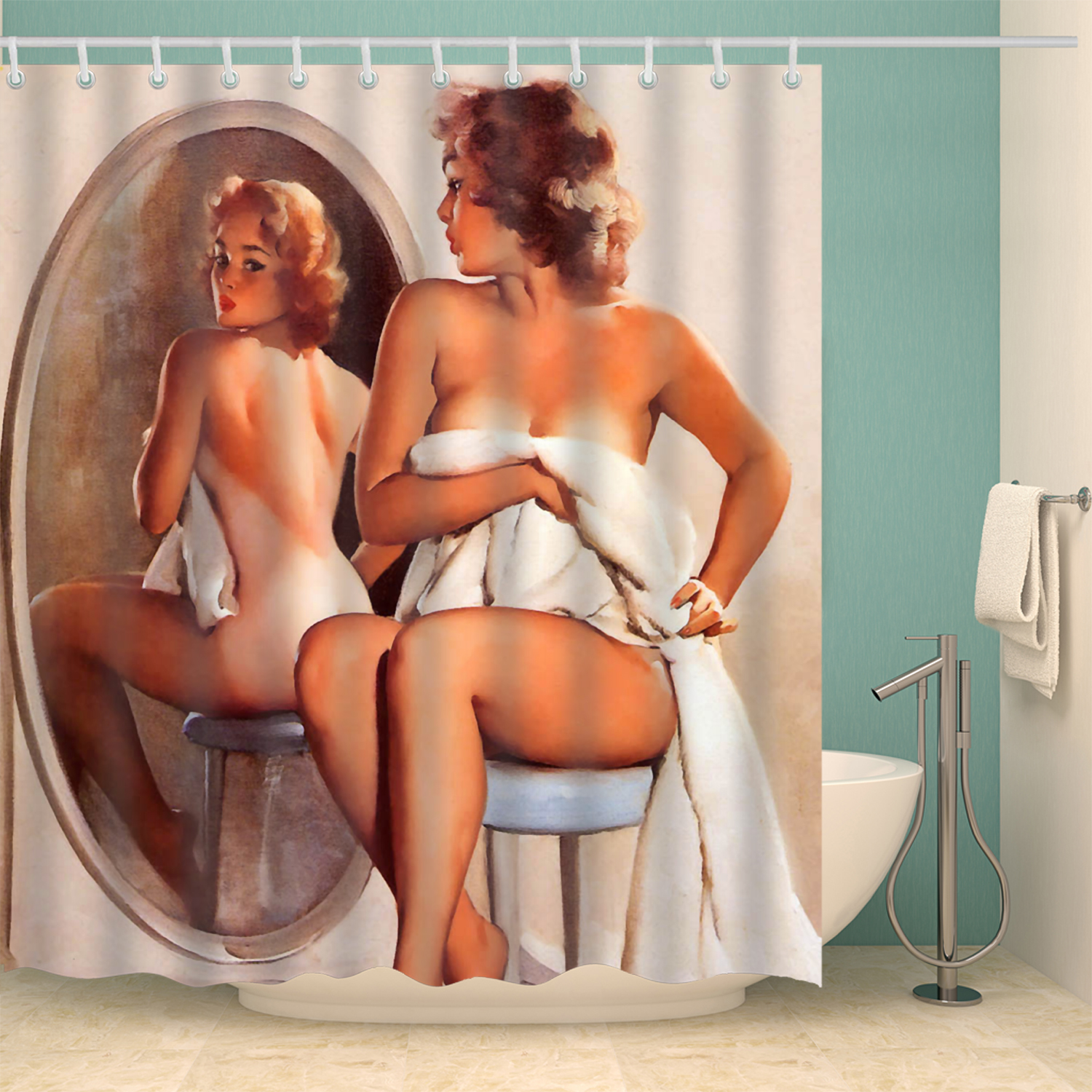 American Girl printed 3D <font><b>Sexy</b></font> Shower curtains with <font><b>12</b></font> hooks waterproof polyester fabric washable bathroom Bath Curtain image