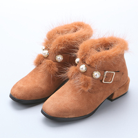 Baby Girls Winter Boots With Big Pearls Princess Shoes Botas Fur Lined Faux Fur Square Heel